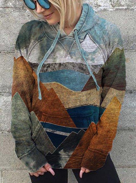 Artistic Landscape Mountain Print Long-Sleeved Hooded Drawstring Sweatshirt