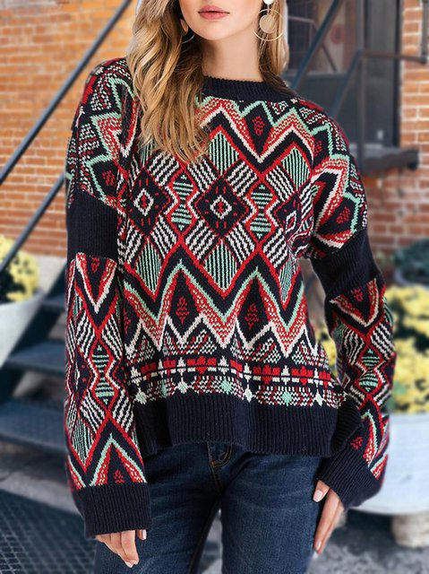Diamond Pattern Knitted Casual Crew Neck Sweater