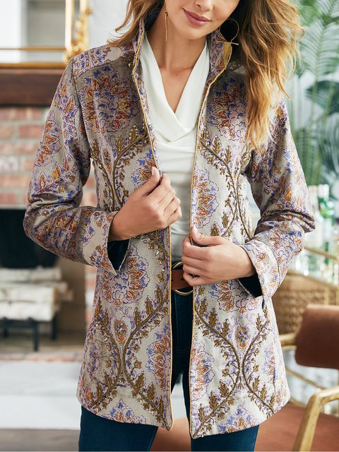 Lapel Floral Printed Long Sleeve Casual Jacket