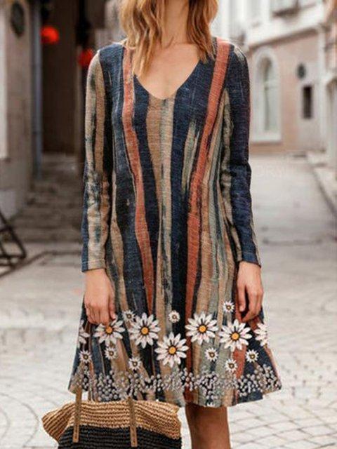 V Neck Long Sleeve Floral Printed Dresses