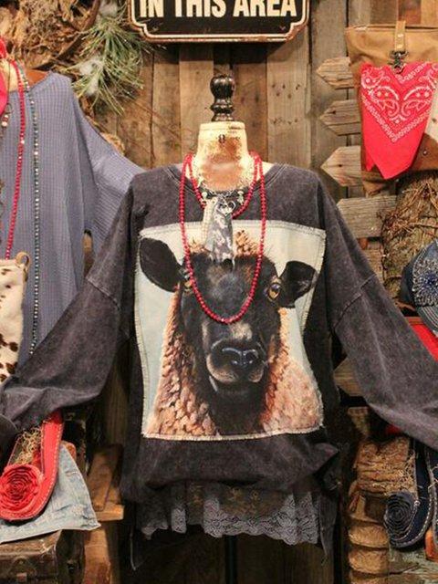 Vintage Shift Long Sleeve Animal Sweatshirt