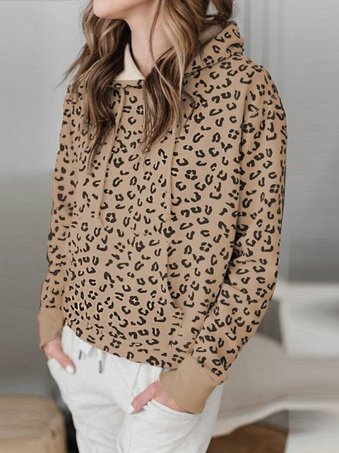Leopard print casual hooded simple and comfortable long-sleeved sweater