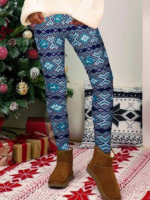 Christmas Printed Skinny Pattern Mid Waist Pants