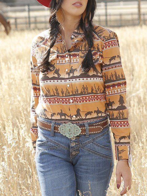 Casual Long Sleeve Gold Printed Snap Western Shirts