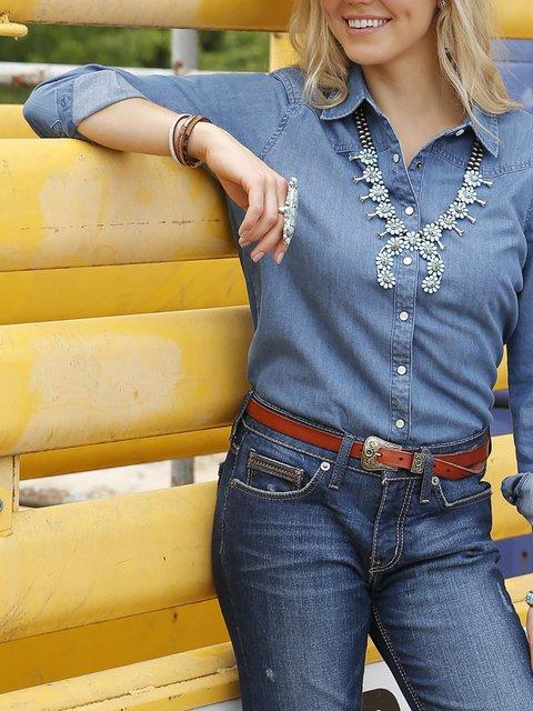 Casual Solid Western Denim Shirt