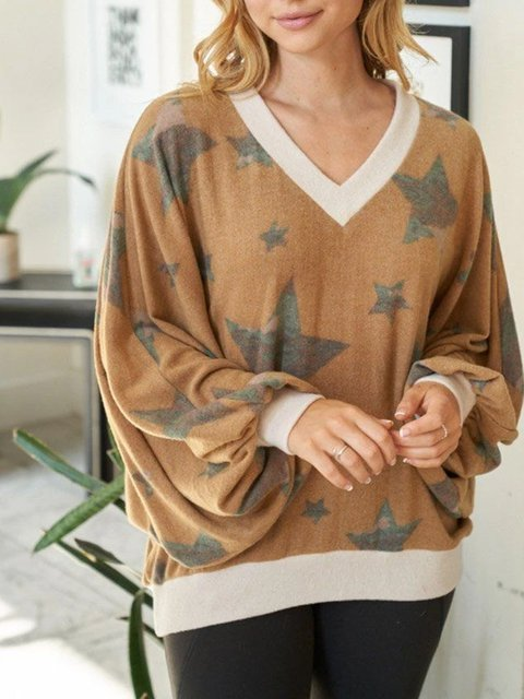 Loose v-neck leisure vacation comfortable printing spring and autumn sweater lantern sleeve top