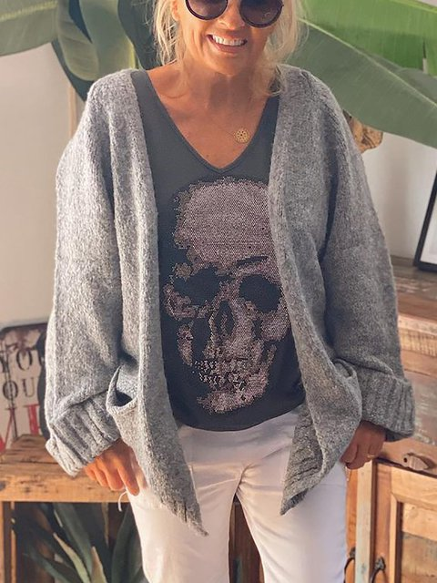 Loose Casual Solid Color Cardigan Sweater