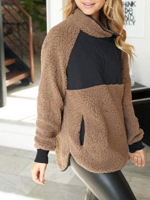 Stitching contrasting warm women's high-neck casual and comfortable top