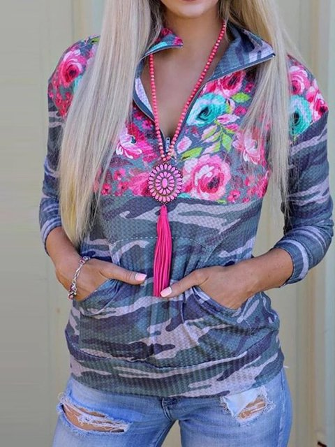 Printed casual high collar zipper half placket simple and comfortable long-sleeved sweater