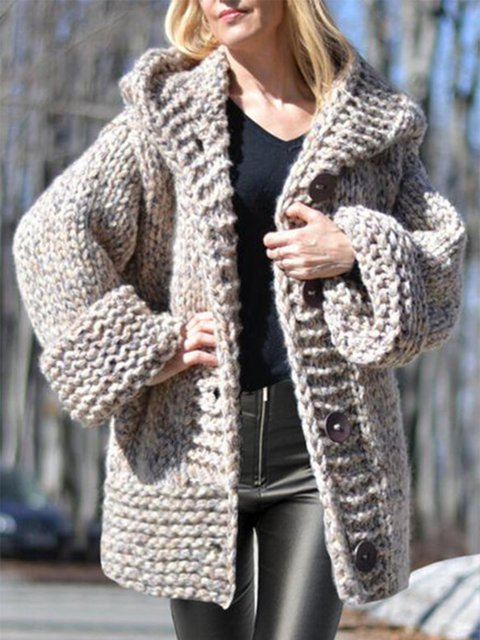 Chunky knit Hooded Casual Cardigan