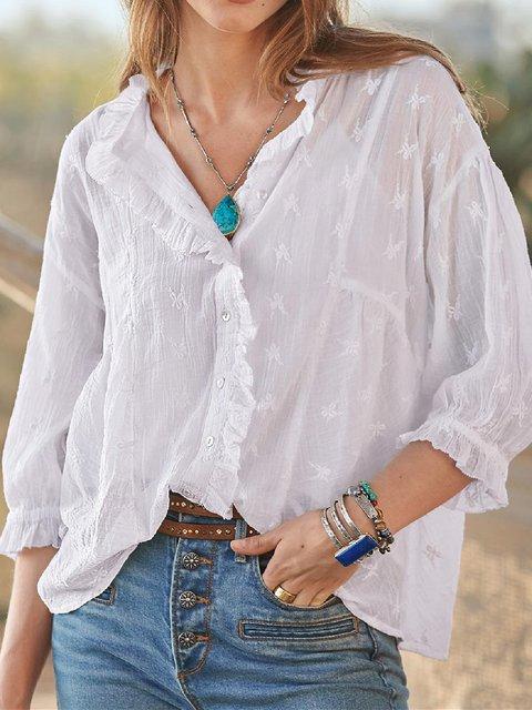 Ruffled Holiday Cotton-Blend Long Sleeve Shirts & Tops