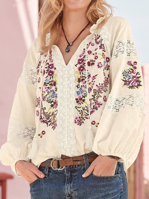 Floral Cotton Casual Shirts & Tops