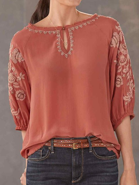 Cotton-Blend Casual Crew Neck Shirts & Tops