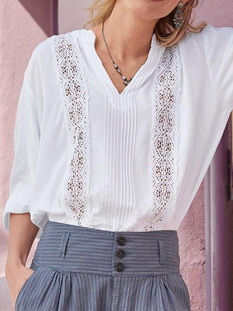 Paneled Vintage Cotton-Blend Plain Shirts & Tops