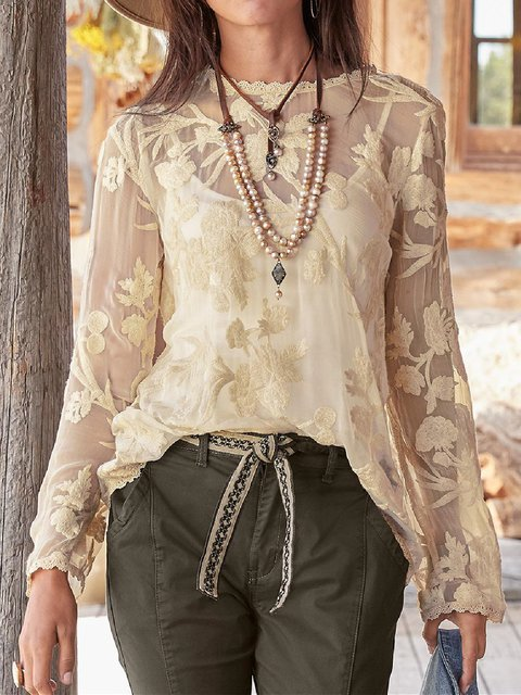 Floral Long Sleeve Guipure Lace Holiday Shirts & Tops