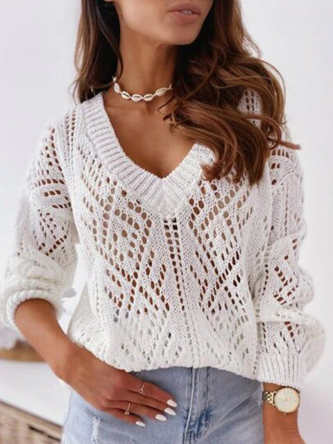 Solid Color V-neck Long Sleeve Hollowed Sexy Sweater