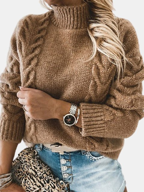 Solid Color High Neck Knit Pullover Tunic Sweater