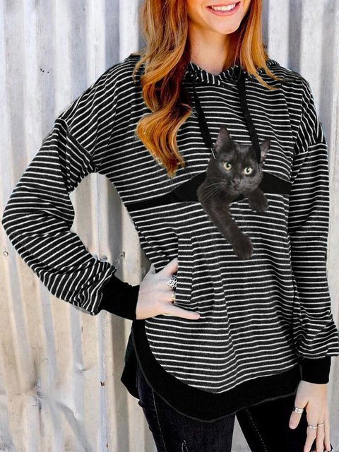 Black Cat Print Long Sleeve Drawstring White Striped Hooded T-shirt