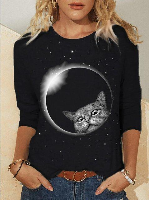 Cat Print Galaxy Round-neck Long Sleeve T-shirt