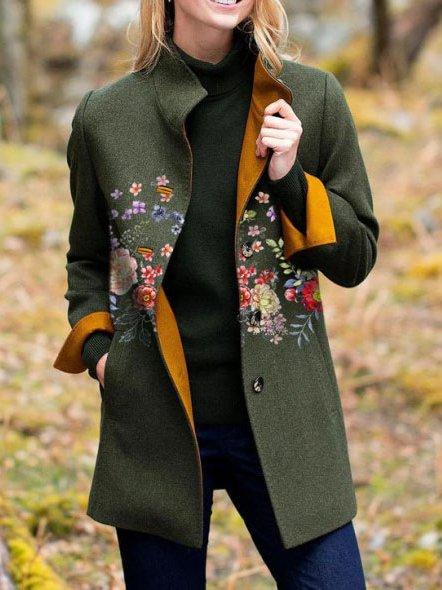 Long Sleeve Floral Outerwear