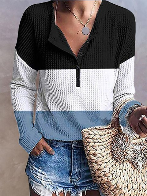 Color Block V-Neck Long Sleeves Buttoned Casual Blouses