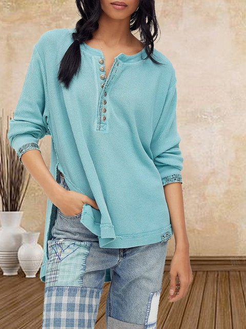 80s women's soft and comfortable stitching base knitted T-shirt