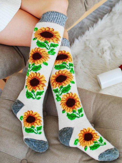 Casual Floral Printed Long Socks