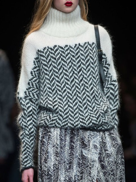 Knitted Casual Geometric Long Sleeve Sweater
