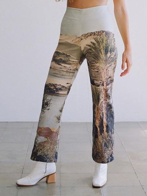 Casual Fit Cotton-Blend Printed Pants
