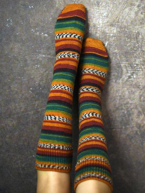 Striped Knitted Knee Socks