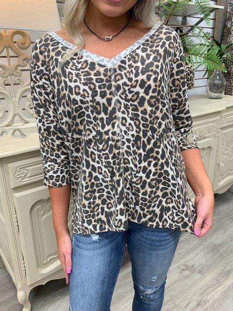 Raglan Sleeve Cotton-Blend Leopard Shirts & Tops