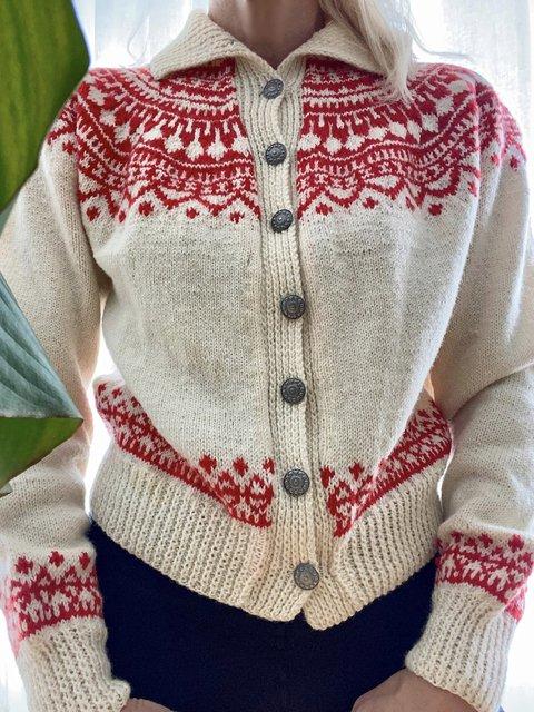 Vintage Long Sleeve Shawl Collar Cardigan Sweater