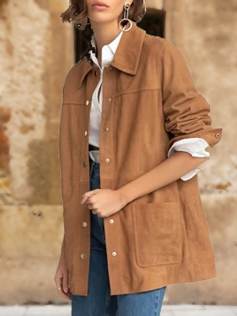 Light retro fashion solid color women's simple casual shirt