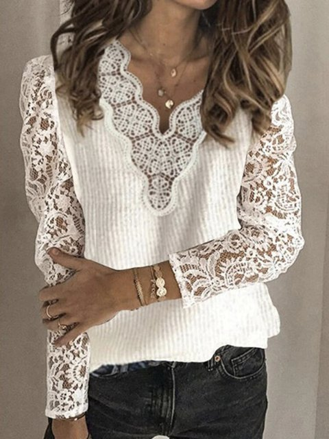 Lace Patchwork V-neck Solid Color Casual Sweater