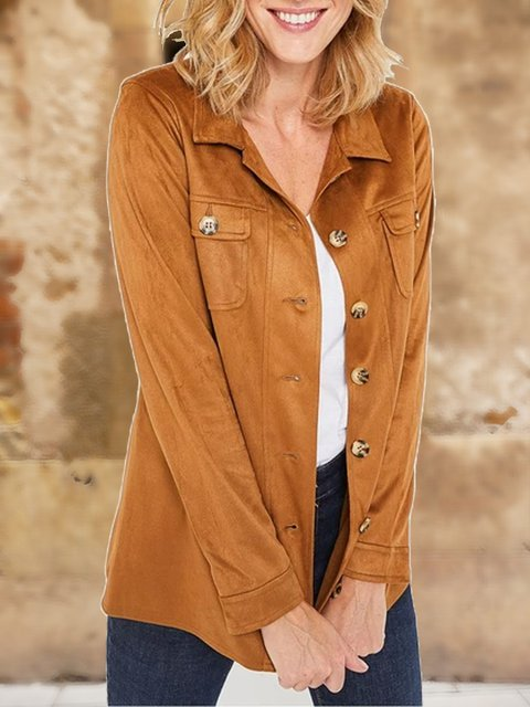 Pocket decoration casual retro fashion handsome and comfortable autumn and winter suede shirt