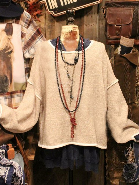 Long Sleeve V Neck Shift Cotton-Blend Sweatshirt