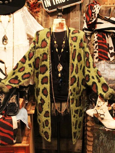 Long Sleeve Shawl Neck Leopard Cotton-Blend Sweater