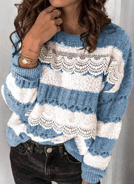 Crew Neck Shift Long Sleeve Casual Sweater