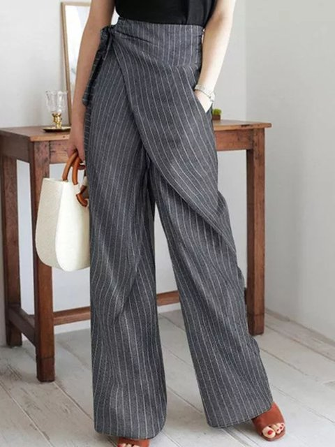 Casual Loose Pattern Pockets High Waist Polyester Pants