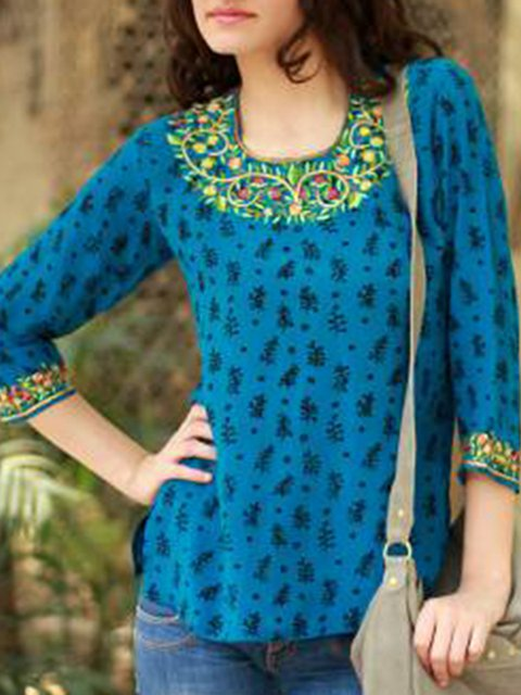 Cotton Printed Crew Neck Casual Shirts & Tops