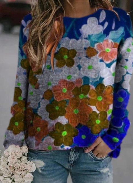Round Neckline Floral Casual Regular Shift Sweatshirt