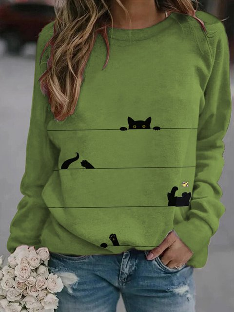 Car Print Stripe Long Sleeve Round-neck Casual Sweatshirt