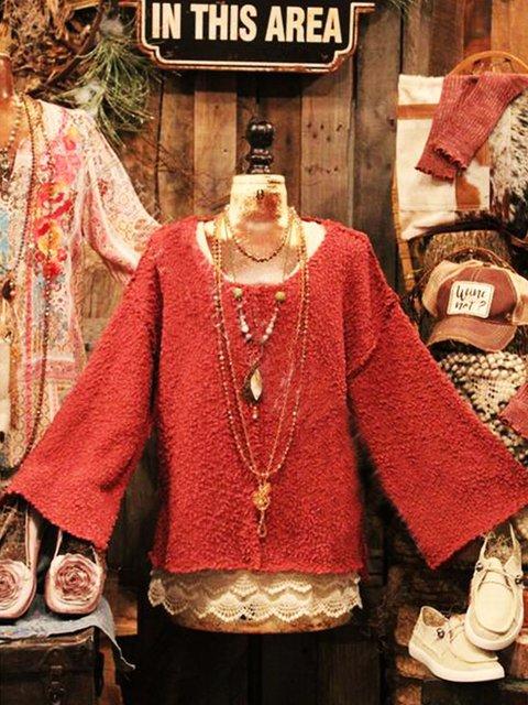 Crew Neck Cotton-Blend Vintage Sweater