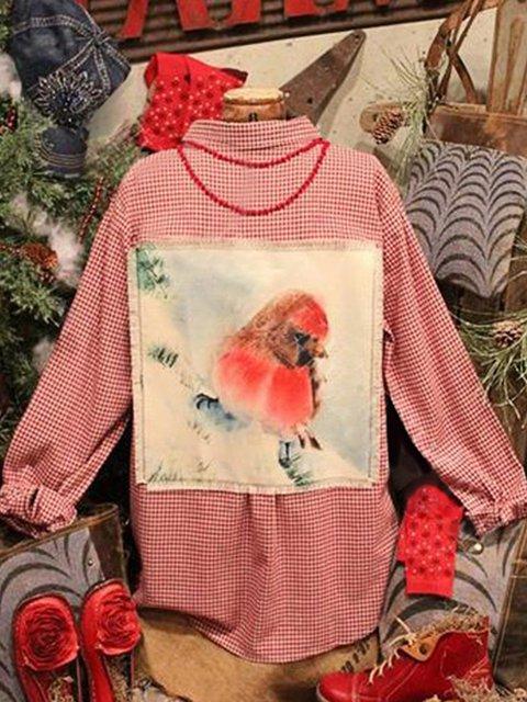 Cotton-Blend Shift Long Sleeve Printed Shirts & Tops