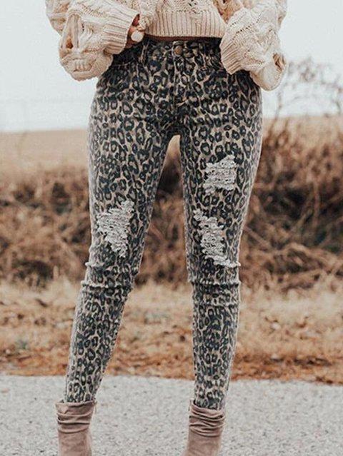 Ripped Leopard Sexy Skinny Denim & Jeans