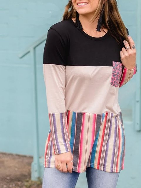 Casual mid-length beautiful women's knitted T-shirt with stitching and contrast