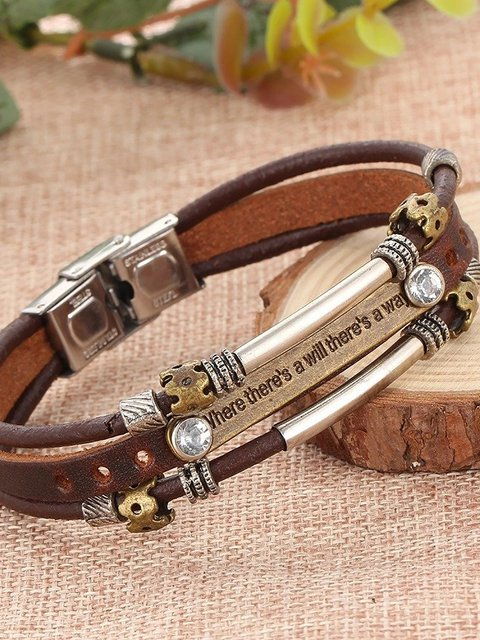 Vintage Punk Multilayer Bracelet PU Leather Woven Bracelet