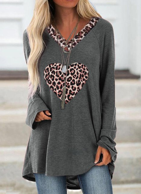 Leopard V-Neck Long Sleeves Shirts & Tops