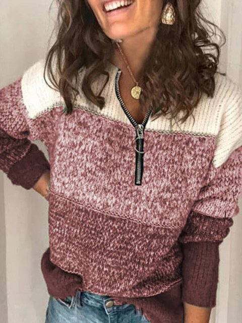Long Sleeve Shift Casual V Neck Sweater