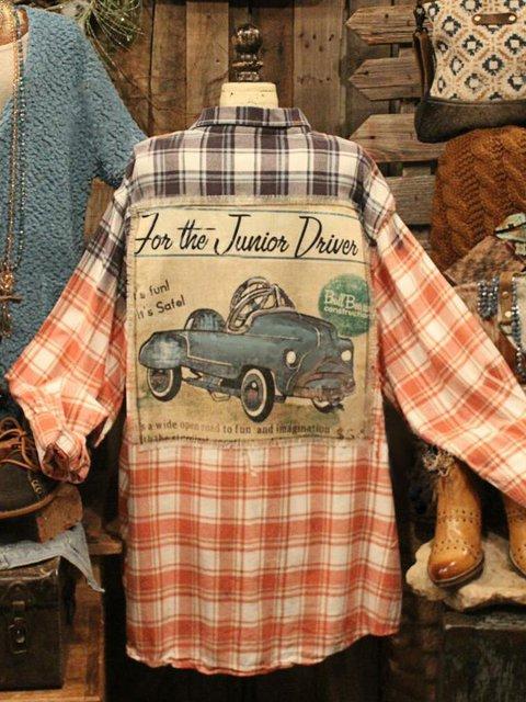 Cotton-Blend Long Sleeve Car Printed Shirts & Tops